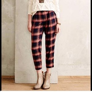 Anthropologie Cartonier Plaid Crop Pants